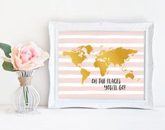 ❣ Please check our announcements tab for coupon codes! ❣  Faux Gold Foil Oh the Places Youll Go Printable  ❥ No physical item will be shipped to