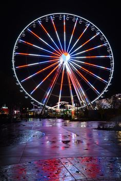 The Great Smoky Mountain Wheel, all lit up at night!  Located at The Island in Pigeon Forge in Tennessee!