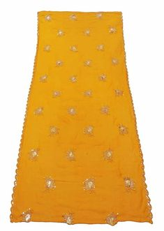 Embroidered Dupatta Vintage Georgette Stole Shawl Yellow Chunari EMBDP5672 #scarves #wraps (ebay link)