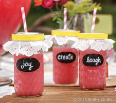 "Turn mason jars into party glasses, using chalkboard paint, chalk markers, 6"" doilies, ribbon and fun straws."