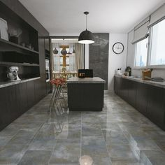 Tranquility Blue Polished Tile - 12 x 24 - 100205392 Ikea Kitchen, Kitchen Tiles, Kitchen Design, Kitchen Reno, Floor Design, Tile Design, Best Flooring For Kitchen, Ceramic Floor Tiles, Ceramic Flooring