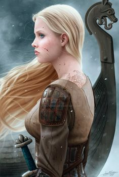 Actually she isn't a valkyrie, but a shieldmaiden. The title is only a parallelism between a shieldmaiden (a Norse warrior woman, according to the Sagas) and the goddesses who take the fallen warri. Art Viking, Viking Life, Viking Woman, Fantasy Warrior, Fantasy Art, Viking Power, Les Runes, Nordic Vikings, Viking Culture
