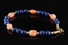 Vintage Chinese Carved Coral Beads Lapis 14k by SummitTreasures