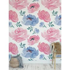 Sticky Wallpaper, Kids Wallpaper, Wallpaper Roll, Peel And Stick Wallpaper, Big Girl Bedrooms, Blue Peonies, Pink Light, Accent Walls, Wall Spaces