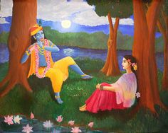 Krishna plays His flute for Radha. 2005 oil on canvas. Krishna Plays His Flute Radha Krishna Love Quotes, Lord Krishna Images, Krishna Leela, Krishna Radha, Indian Gods, Indian Art, Baby Boy Pictures, Celebrity Drawings, Gods And Goddesses