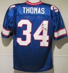Thurman Thomas Autographed Buffalo Bills Blue Size XL Jersey w/HOF by DenverAutographs. $149.99. This jersey with sewn on name and numbers has been personally autographed by Thurman Thomas. He played 12 seasons (1988-1999) with the Bills after earning All-American honors twice at Oklahoma State (1985 & 1987). During his career he rushed for 12, 074 yards, scored 88 touchdowns, helped the Bills to four consecutive Super Bowls (XXV-XXVIII), earned 1991 NFL MVP and w...