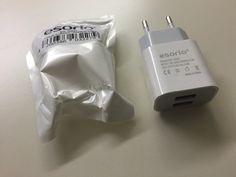 Im Produkttest:  esorio® Power Dual Netzstecker USB Adapter Netzteil USB 3.0A Verpackung: Die Verpackung ist spartanisch und schlicht, aber vollkommen ausreichend, so ein Stec...