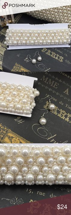 """Pearl Choker *3 sizes of pearls meshed together to make this classy Choker (earrings included)  *Hardware silver  *Approx 17"""" incl. chain Jewelry Necklaces"""