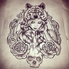 Girl with wolf on head with roses drawing art