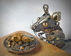 Old Watch Parts Recycled Into Steampunk Sculptures By Susan Beatrice  AD-Recycled-Watch-Parts-Sculptures-Vintage-Antique-Susan-Beatrice-04