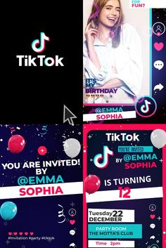 Ideal invitation for fans of the tiktok App, join the Challenge of a super party and Celebrate different Tiktokers Birthday Celebration Zoom Party Invitation, Zoom Birthday Party Ideas, Video Invitation, Kids Birthday Party 12th Birthday, Unicorn Birthday, Birthday Celebration, Birthday Party Themes, Electronic Cards, Electronic Invitations, Invitation Cards, Party Invitations, Super Party