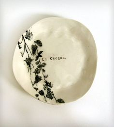 La Cucina Porcelain Appetizer Plate by Gina DeSantis available at Scoutmob now. Ceramic Tableware, Ceramic Clay, Ceramic Painting, Pottery Plates, Ceramic Pottery, Kintsugi, Earthenware, Stoneware, Slab Ceramics