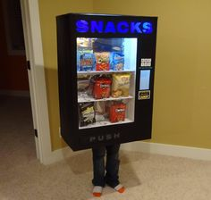 """So last year my kid wanted to be a mailbox for Halloween. This year, he wanted to be a vending machine. Here are the results..."" by Redditor MoobyTheGoldenCalf #Halloween #DIY #Kids"