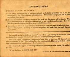 Instruction page from a World War II-era ration book issued to North Hollywood resident Vincent J. Graziano, circa early 1940s. When nationwide food rationing was instituted in 1942, the US Office of Price Administration produced booklets containing ration stamps that were handed out to every person in order to control the use and distribution of dairy products and other staples. San Fernando Valley History Digital Library.