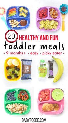 20 Healthy Toddler Meals is a true look at What My Toddler Eats in a Week including breakfasts, snacks, lunches and dinners! 20 healthy and fun toddler meal ideas for your own little one. Also included are links to recipes, advice on how to deal with picky eaters and my tried-and-true methods on how to make healthy meals without losing your mind! Healthy Toddler Meals, Toddler Lunches, Healthy Meals, Easy Meals, Healthy Recipes, Sweet Potatoe Bites, Baby Led Weaning, Roasted Sweet Potatoes, What's Trending