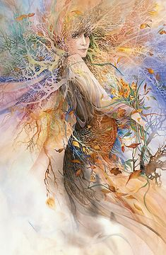 Dryad's Farewell, fairy woman with flowers, Helena Nelson Reed watercolor signed fine art giclee Josephine Wall, Fantasy Kunst, Fantasy Art, Art Visionnaire, Visionary Art, Mythical Creatures, Graphic, Illustration Art, Artsy