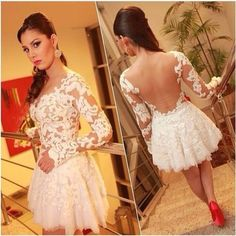 $15.29 - New 2014 Women Dress Long Sleeve Mini Ball Gown Dress Backless White  Lace Dress Sexy Prom Party dresses Vestido de Renda