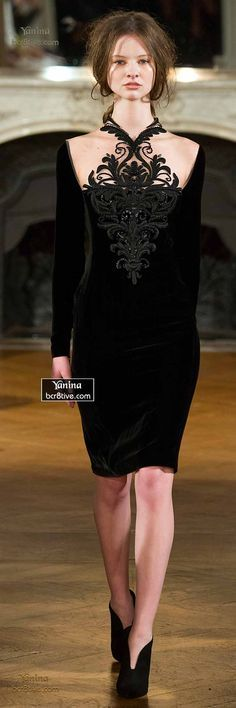 Yanina Fall 2014-15 Haute Couture. I quite love how the details are delicate and ornate (as is the hairstyle), but the bodice detail still reads as breastplate/shield/armour, dangerous. Could see this as lovely for YangR? Love the boots.