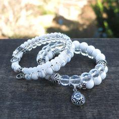 Bracelets de fil mémoire de rêves de blanc lot de deux