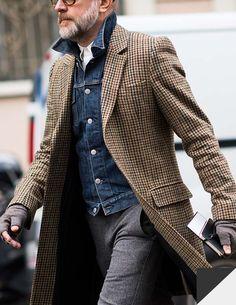 veste-en-jean-manteau-pied-de-poule - - - veste-en-jean-manteau-pied-de-poule – jacket-in-jean-coat-foot-of-hen – <!-- without result -->Related Post Co Cool Street Fashion, Look Fashion, Mens Fashion, Fashion Ideas, Fashion Fashion, Fashion Outfits, Fashion Trends, Gentleman Mode, Gentleman Style