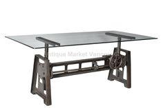 Industrial - Crank Table -  Dining Table - Adjustable Table - Cast Iron Base - Restaurant - Bar - Cafe - Decor - Vintage - Industrial Design - Antique Market Vancouver - Retail / Wholesale - Glass Top