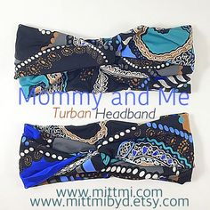 Blue paisley print baby turban headbandmade in us by MittmibyD