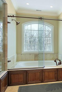 Metro Sliding shower doors - Get a quote from Dulles Glass for a frameless sliding shower door in the Washington, DC metro area. Frameless Sliding Shower Doors, Glass Shower Doors, Corner Bathtub, Curtains, Bathroom, Showers, Smooth, Beautiful, Washroom