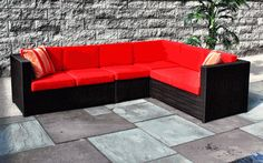 RED & Dark BROWN Hot Modern Outdoor Wicker Combo: South Hampton Wicker Sectional with Sunbrella Red Cushions via @wickerparadise #outdoor #wicker #patio #sectional #sofas www.wickerparadise.com