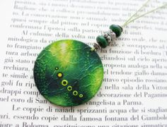 Green Necklace  Green Wooden Pendant  Spring by TheGoldenTrees, €20.00