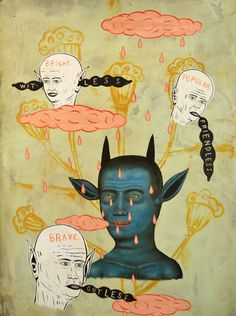 Fred Stonehouse, Bleu-Devil, 2014, acrylique sur papier, 76x56 cm Mark Ryden, Cool Paintings, Painting Prints, Image Collection, Pop Surrealism, Art For Art Sake, Outsider Art, Artist At Work, Blue Devil