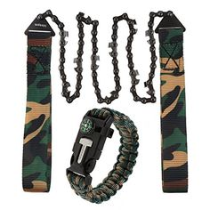 IDEAPRO Multifunctional Survival Kit Paracord Bracelet Fire Starer With Compass Whistle  Pocket Chainsaw Chains For Hunting Camping Hiking Other Outdoor Sports >>> You can get more details by clicking on the image.