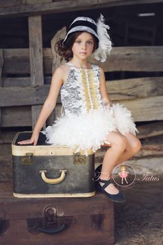 """Couture girls' apparel - """"Virginia"""" dress in ivory and black - """"Flapper Girls"""" Collection"""