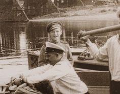 """Tsarevich Alexei Nikolaevich Romanov of Russia with Andrei Derevenko in front of him. """"AL"""""""