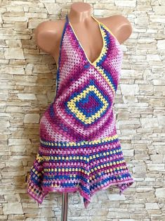 Crochet granny square women dress Colorful gypsy beach clothing Summer festival bohemian dress Hippie vacation outfit Crochet dress Gift her Crochet Clothes, Diy Clothes, Crochet Dresses, Crochet Toddler, Hippie Dresses, Crochet Granny, Crochet Top, Rainbow Crochet, Crotchet