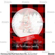 Christmas Red Plaid Santa Snow Globe Custom Name Postcard Santa Snow Globe, Holiday Cards, Christmas Cards, Where The Heart Is, White Elephant Gifts, Red Plaid, Red Christmas, Snow Globes, Art Pieces