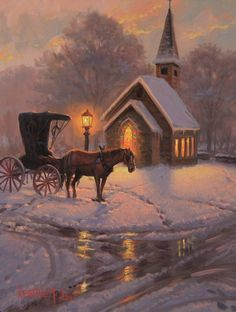 Carriage Chapel by Mark Keathley Christmas Drawing, Christmas Paintings, Christmas Art, Winter Pictures, Christmas Pictures, Winter Szenen, Christmas Scenery, Illustration Noel, Illustrations