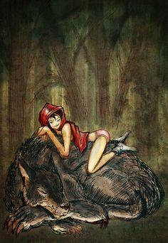 Little Red Riding Hood Art Print Dark Fantasy Art, Fantasy Girl, Dark Art, Red Riding Hood Wolf, Red Ridding Hood, Wolves And Women, Werewolf Art, Wolf Painting, Wolf Spirit