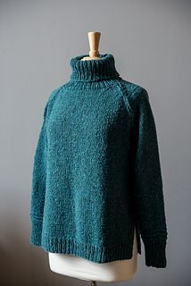 Carrowkeel pattern by Kate Gagnon Osborn. 14/21. The body and sleeves of Carrowkeel are worked flat in pieces from the bottom up. Compound raglan decreases shape the yoke, and short rows at the top of the sleeves help shape the neck. After completing the pieces, the sweater is seamed together using mattress stitch, and stitches are picked up to work the turtleneck in the round.