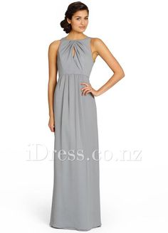 Pewter crinkle chiffon A-line long bridesmaid gown. Cross-over keyhole draped bodice. Natural waist with softly gathered skirt.