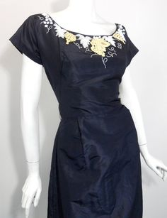 50s vintage dress w/ white beading and ivory embroidery. stunning.