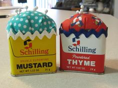 Seasoning Tin Pincushions - so cute & another recycling idea. Lightbulb moment:  use the bottles from herbs etc to store pins or needles? Sewing Box, Sewing Tools, Sewing Notions, Sewing Hacks, Sewing Kits, Sewing Patterns, Spice Tins, Needle And Thread, Needle Book