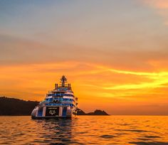 The largest yacht ever constructed in Italy the massive 140m Ocean Victory seen here at sunset in Phuket Thailand. Photo by Alexandra Busica by superyachttimes