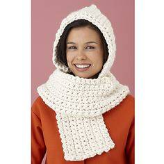 Snuggle in close with this cuddly scarf with a hood built right in! Hometown USA is the perfect yarn for this project; make your hooded scarf in any of the 38 colors available, or make a few to give as last minute gifts! (Lion Brand Yarn)