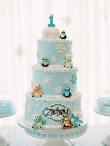 Cake from a Winter ONEderland Birthday Party via Kara's Party Ideas KarasPartyIdeas.com (26)