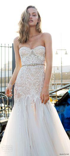 alon livne white pre 2018 bridal strapless sweetheart lace bodice fit flare wedding dress (helen) fv glam -- Alon Livne White 2017-2018 Wedding Dresses