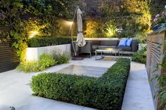 Elegant Small Garden Modern Design with Modern Patio also Amazing Minimalist Wall Design Brick and Wooden Furniture Set
