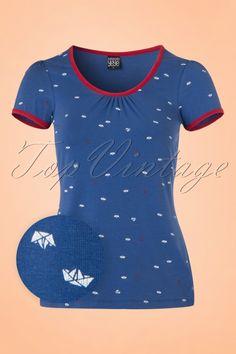 Mademoiselle Yeye Gwen Top in Blue Seaside 19874 20161117 0011w