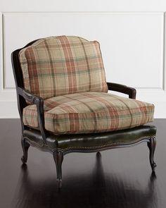 Gideon Bergere Chair, Green Plaid