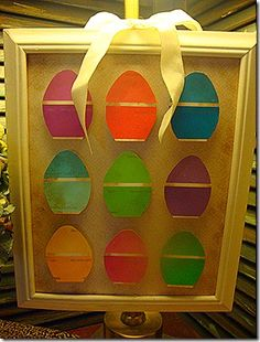 Upcycle paint chip cards into Easter display #easter
