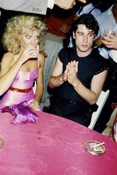#Grease behind the scenes(I think?)  Olivia Newton-John(Sandy) & John Travolta(Danny)